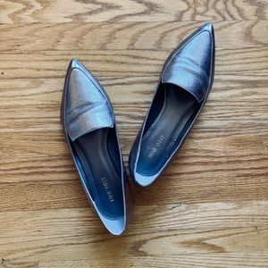 Metallic Leather Pointed Toe Loafers